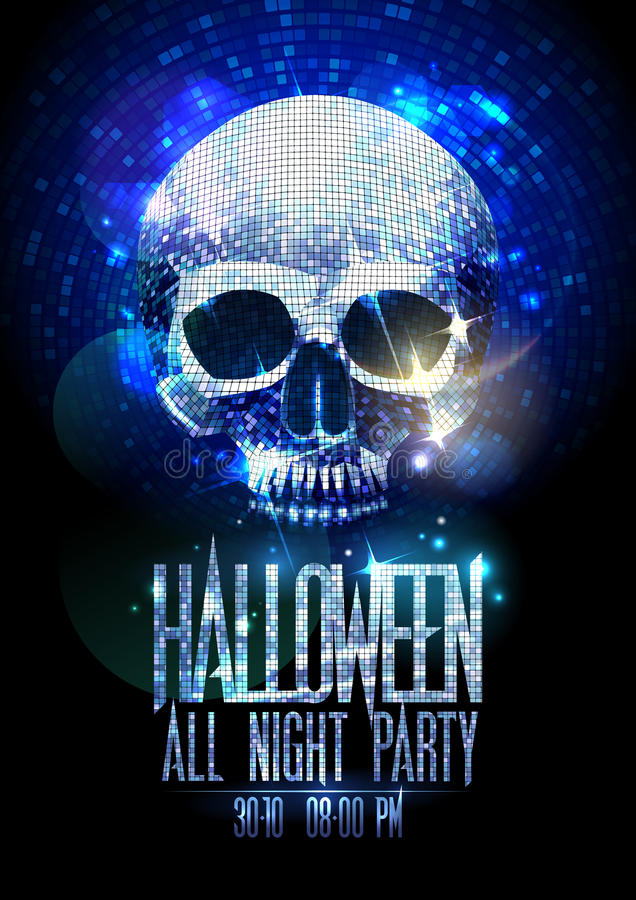 Fashion halloween party poster with silver sparkles skull, shiny headline stock illustration
