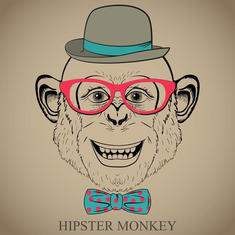 Fashion Hand Drawing Illustration of Monkey in Glasses, Bow Tie and Bowler Hat. Hipster look. Retro vintage style. Doodle style royalty free illustration