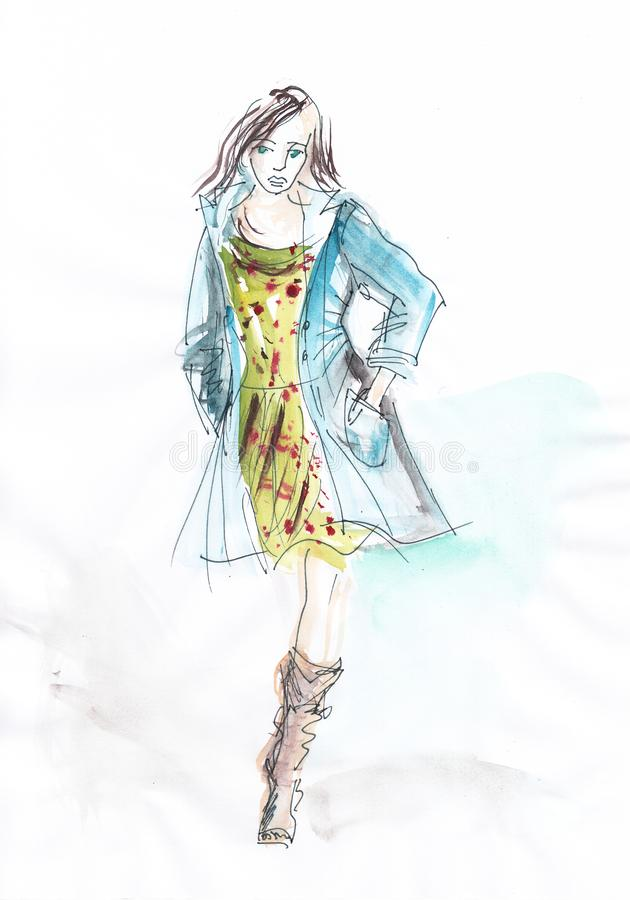Fashion - hand drawn beautiful woman in summer dress and blue coat. royalty free stock photography