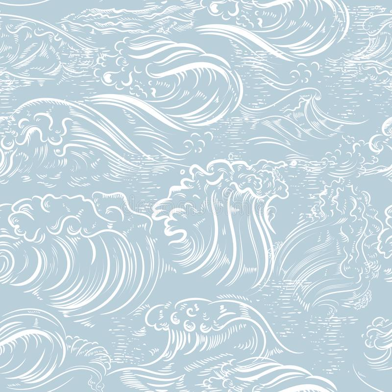 Fashion hand drawn engraved pattern with ocean waves ideal for wallpaper designs royalty free illustration
