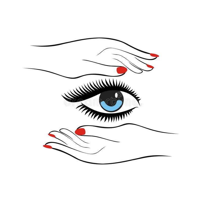 Fashion or health care concept. Female hands with red manicure protect women eye with long lashes. Vector illustration stock illustration