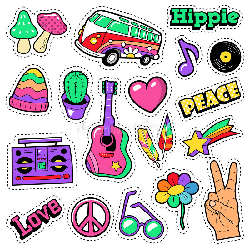 Fashion Hippie Badges, Patches, Stickers - Van Mushroom Guitar and Feather in Pop Art Comic Style. Vector illustration vector illustration