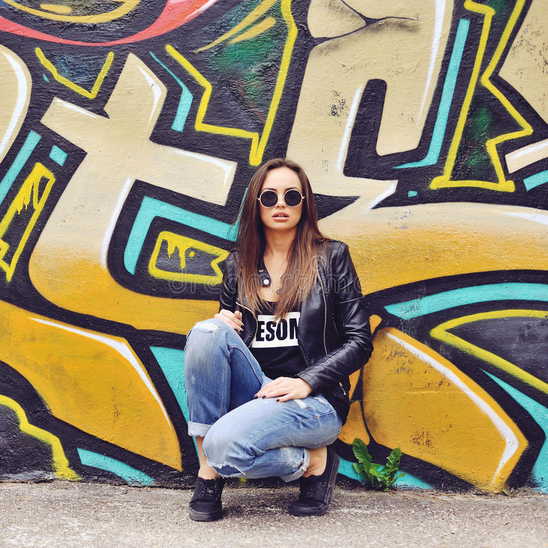 Fashion hipster girl portrait outdoor.  royalty free stock image