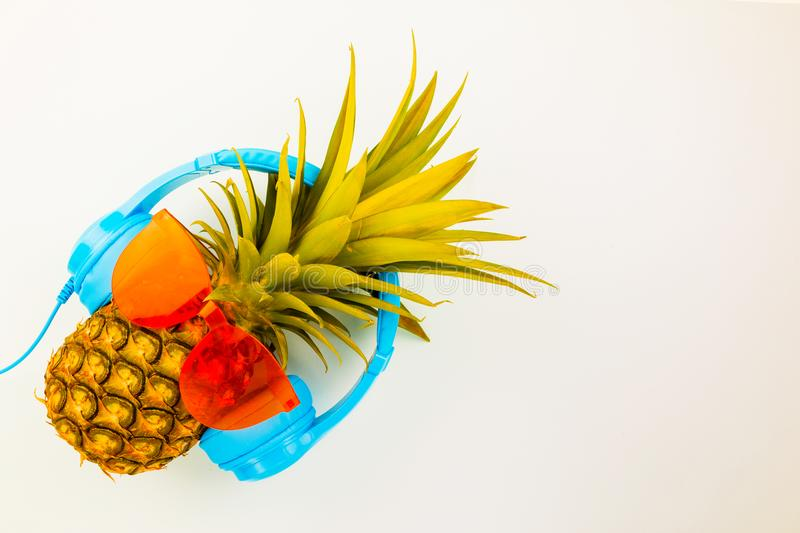 Fashion Hipster Pineapple on background, Bright Summer Color, Tr royalty free stock photo