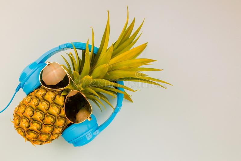 Fashion Hipster Pineapple on background, Bright Summer Color, Tr royalty free stock images