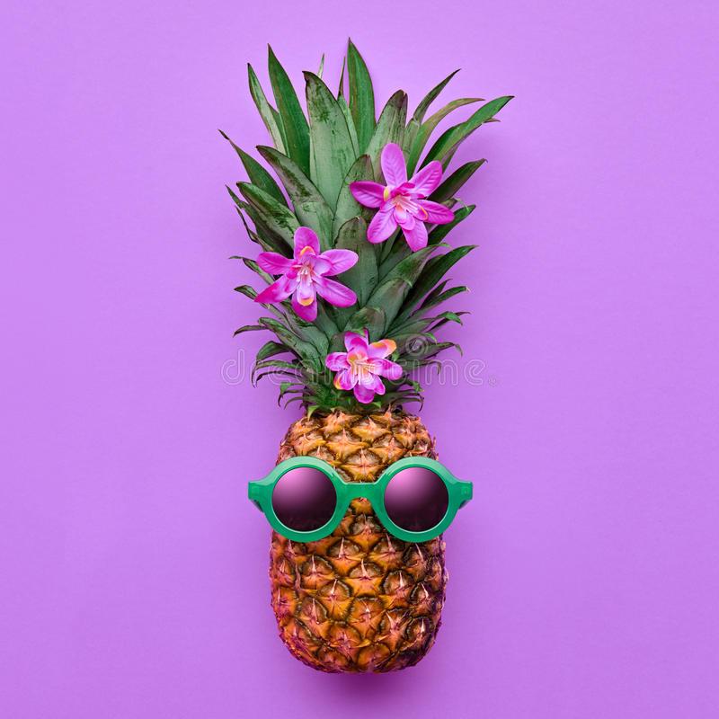 Fashion Hipster Pineapple. Tropical Summer Mood stock photos
