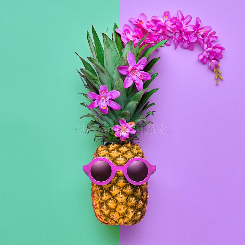Fashion Hipster Pineapple. Tropical Summer Mood stock photography