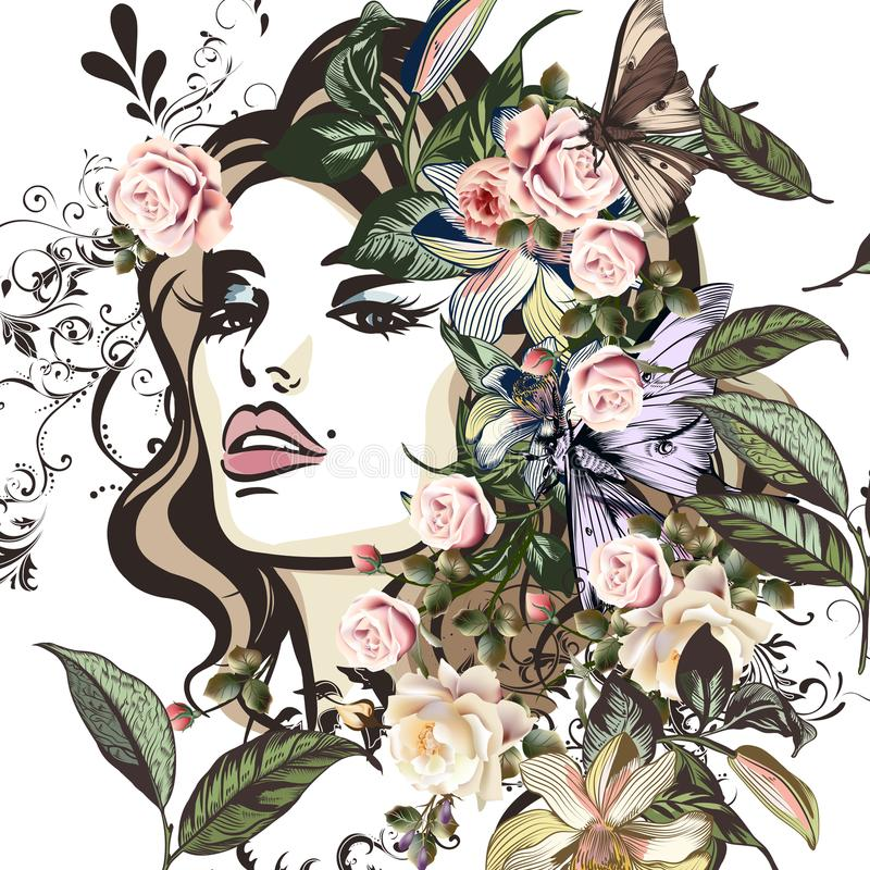 Fashion illustration with beautiful young woman portrait, floral stock illustration