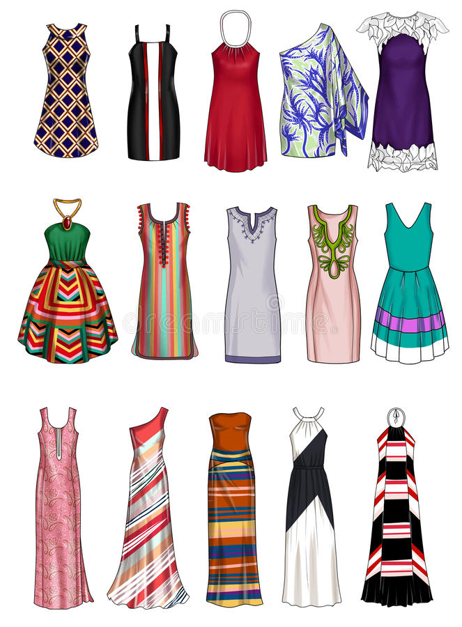 Fashion Illustration - Collection of different woman's clothes stock illustration