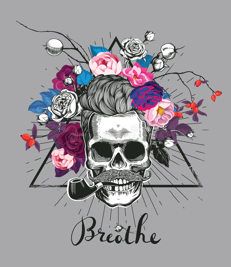 Fashion illustration depicting skull stock illustration