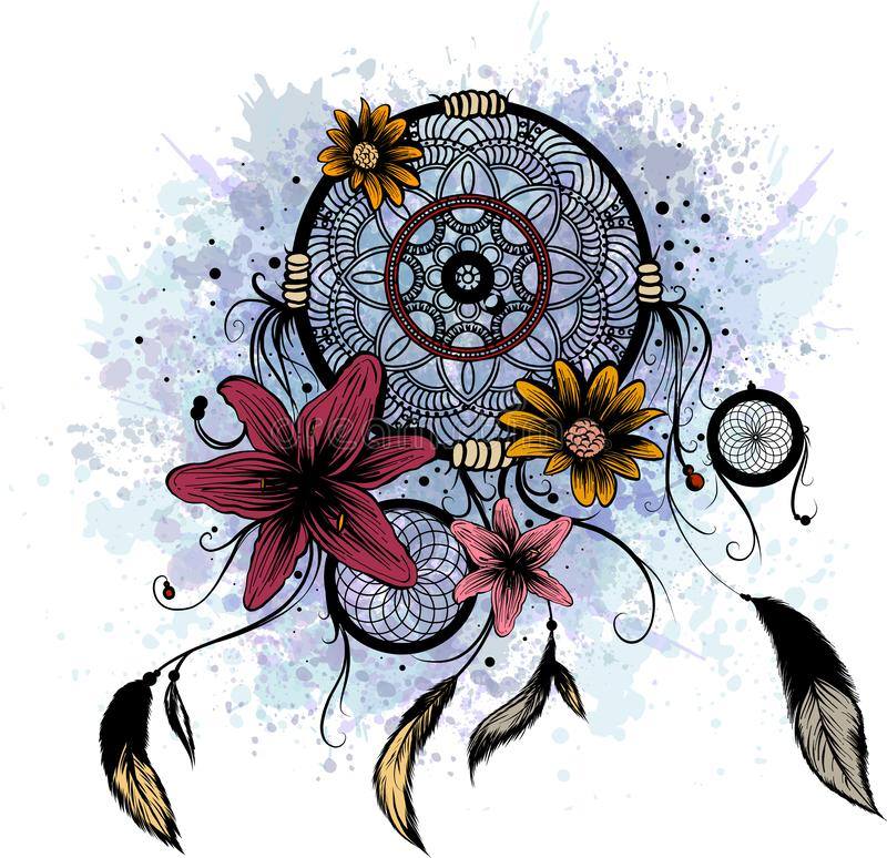 Fashion illustration with dream catcher and flowers. Hand drawn design stock illustration