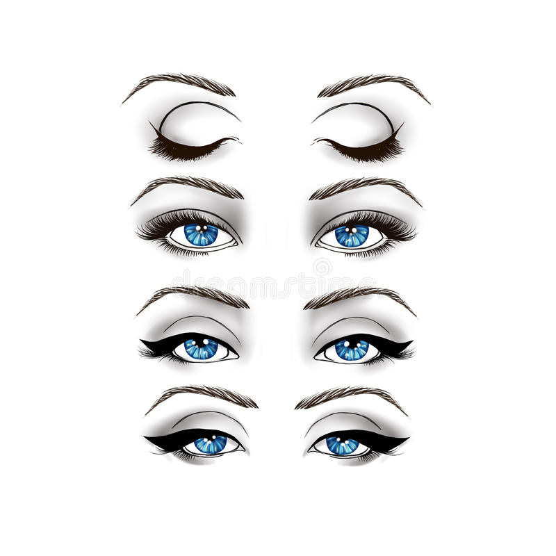 Fashion Illustration - eyes on White background. Black and White Fashion Illustration - eyes on White background