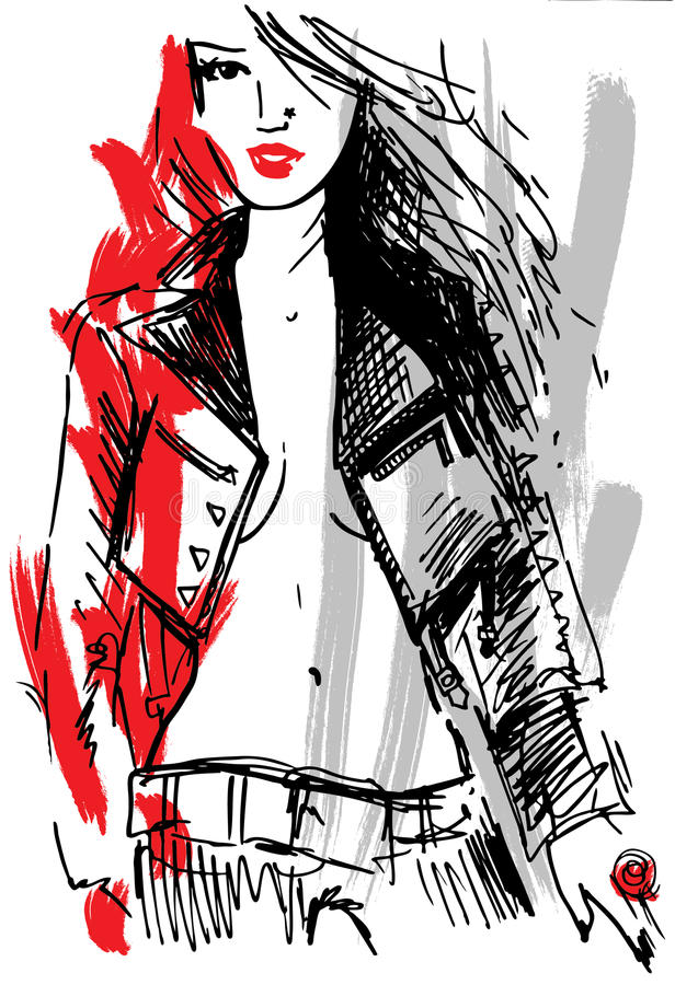 Download Rock girl sketch stock vector. Image of biker, apparel - 30077062