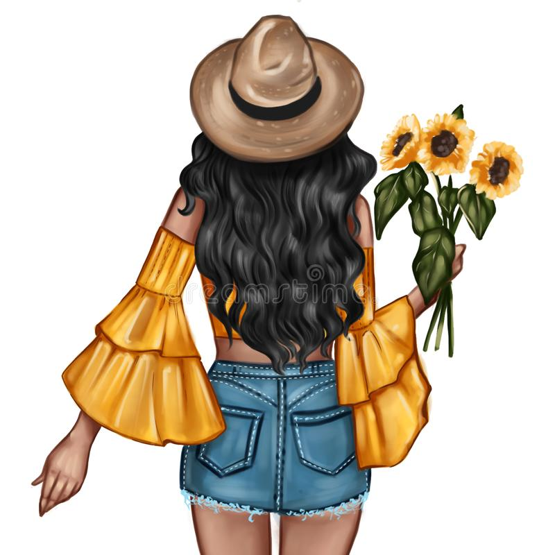Free Fashion Illustration - Girl Holding A Sunflower - Woman Portrait Stock Image - 150840701