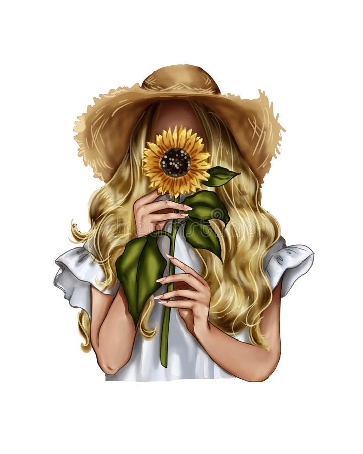 Free Fashion Illustration - Girl Holding A Sunflower - Woman Portrait Stock Photography - 150840972