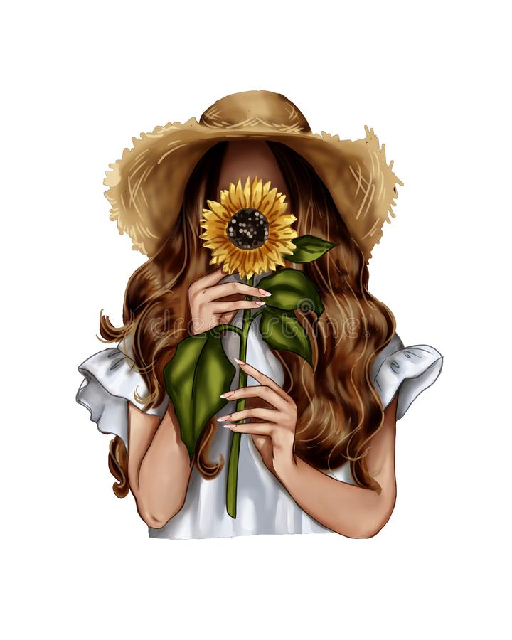 Free Fashion Illustration - Girl Holding A Sunflower - Woman Portrait Royalty Free Stock Images - 150842129