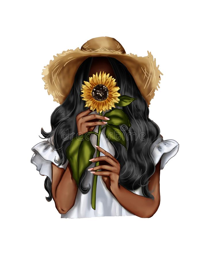 Free Fashion Illustration - Girl Holding A Sunflower - Woman Portrait Royalty Free Stock Photography - 150842537