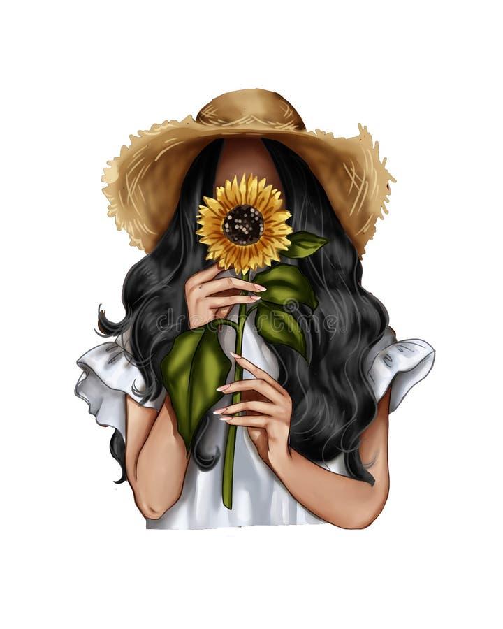 Fashion Illustration - Girl holding a sunflower - woman Portrait stock illustration