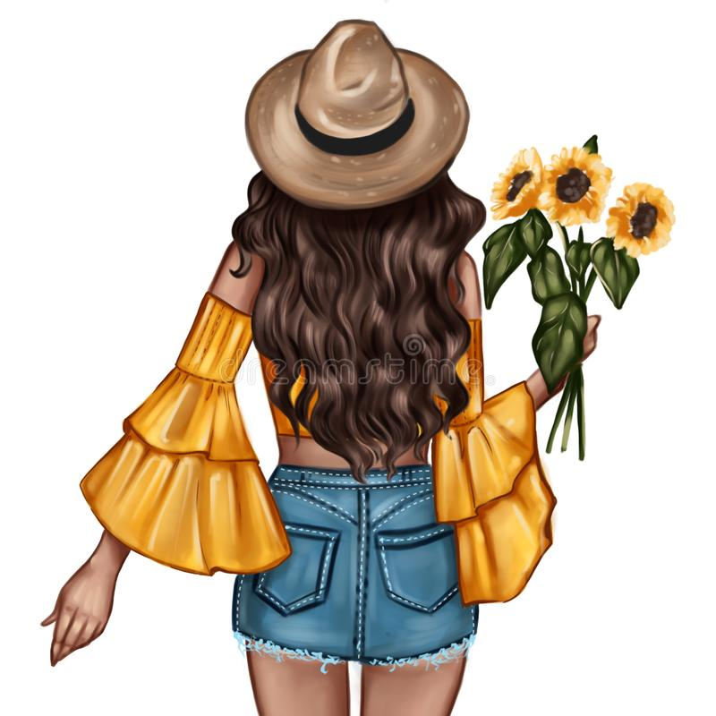 Fashion Illustration - Girl holding a sunflower - woman Portrait stock illustration