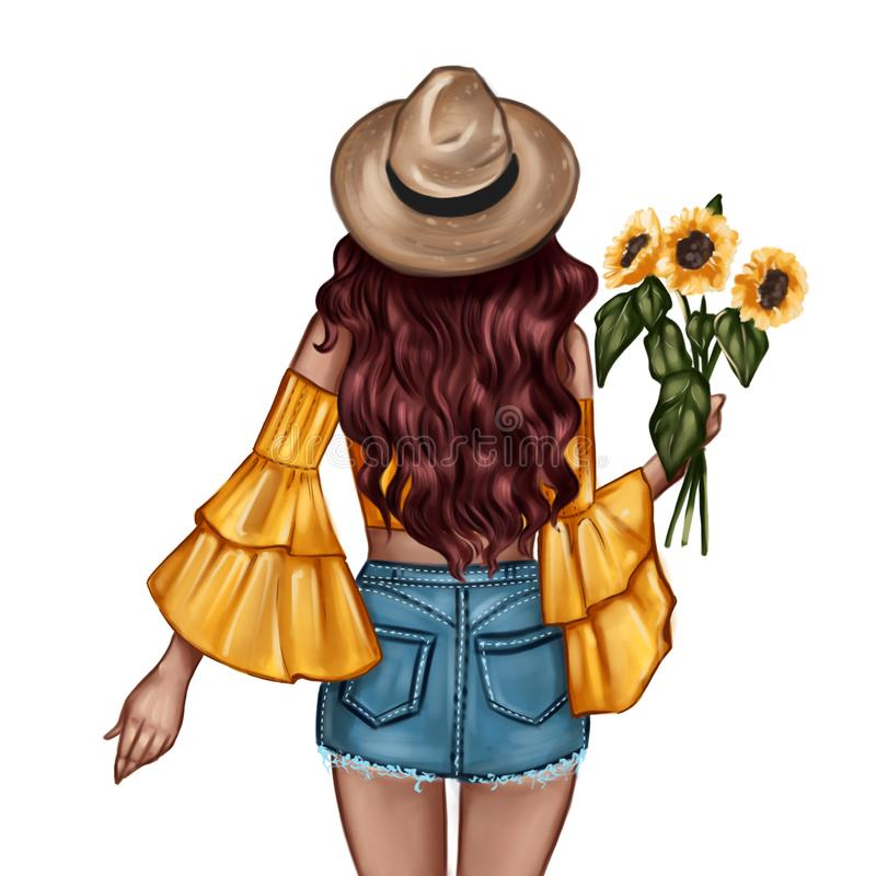 Fashion Illustration - Girl holding a sunflower - woman Portrait vector illustration