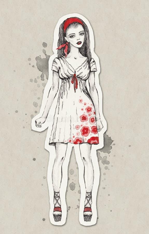 Line Art Fashion : Fashion illustration stock image of apparel