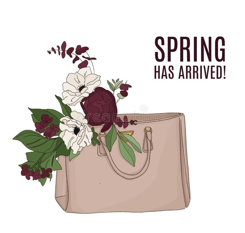 Fashion illustration: luxury bag full of flowers. Beautiful floral composition, spring text. Quote beauty art with. Modern bouquet. Greeting card, anniversary royalty free illustration