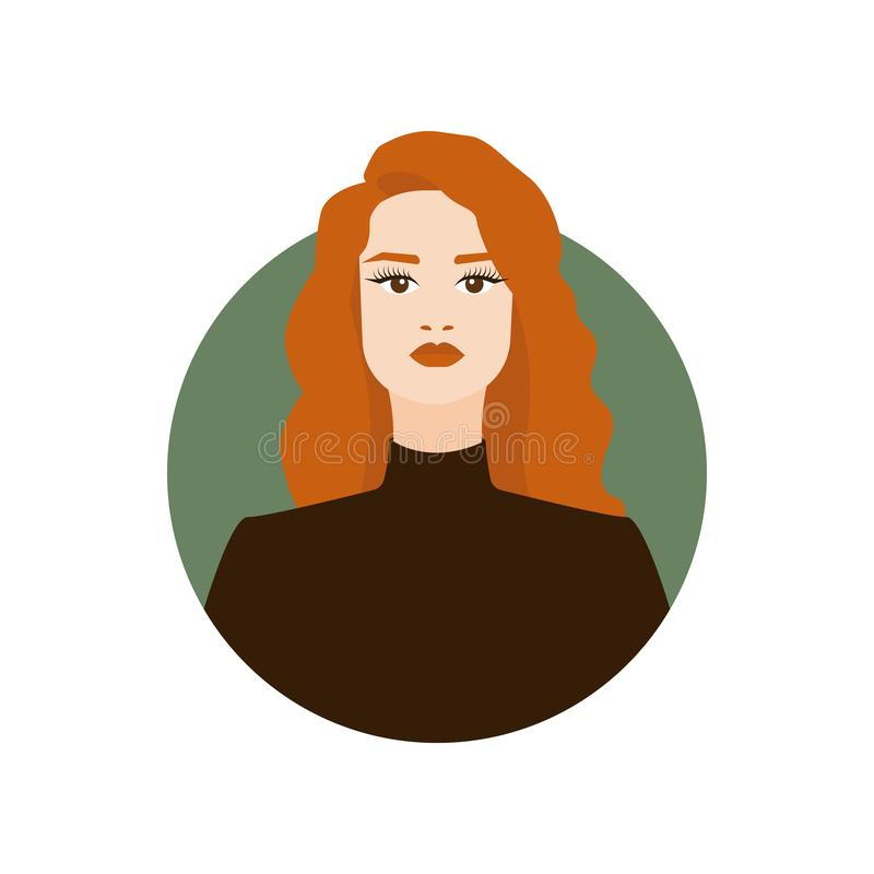 Free Fashion Illustration Of Young Woman With Perfect Red Hair. Charming Redheaded Girl Porttrait Stock Image - 158008271