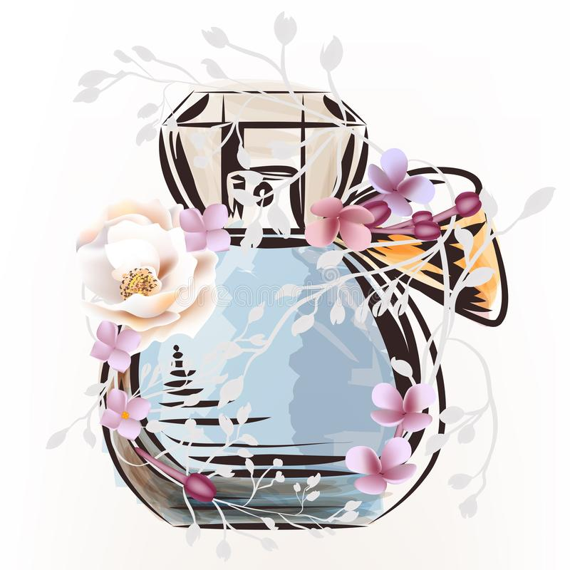 Fashion illustration with perfume bottle and rose flower vector illustration