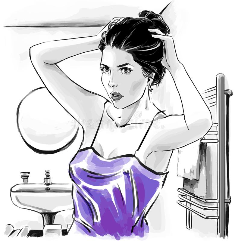 Fashion illustration, portrait of woman vector illustration