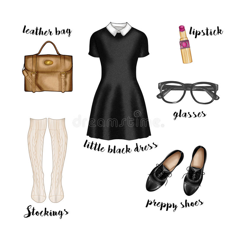 fashion illustration. preppy hipster casual style outfit vector illustration