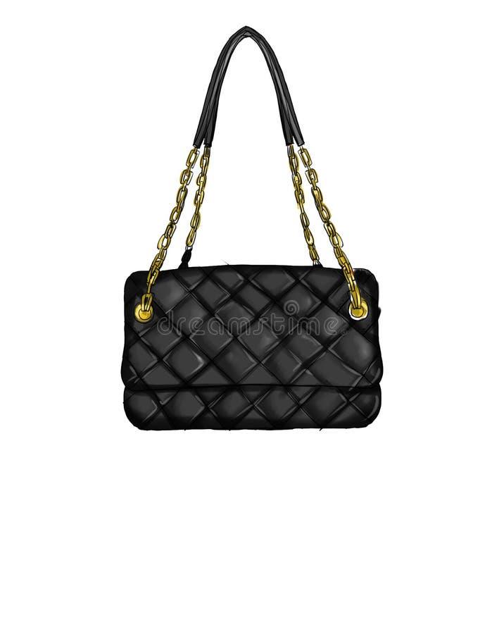 Fashion Illustration with quilt black handbag. Nn vector illustration