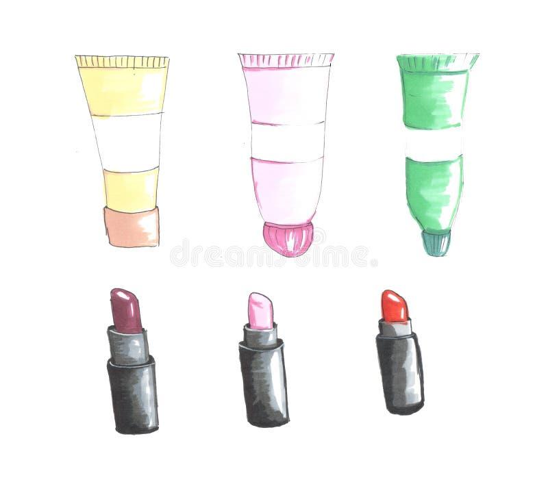 Fashion illustration of red lipstick royalty free illustration