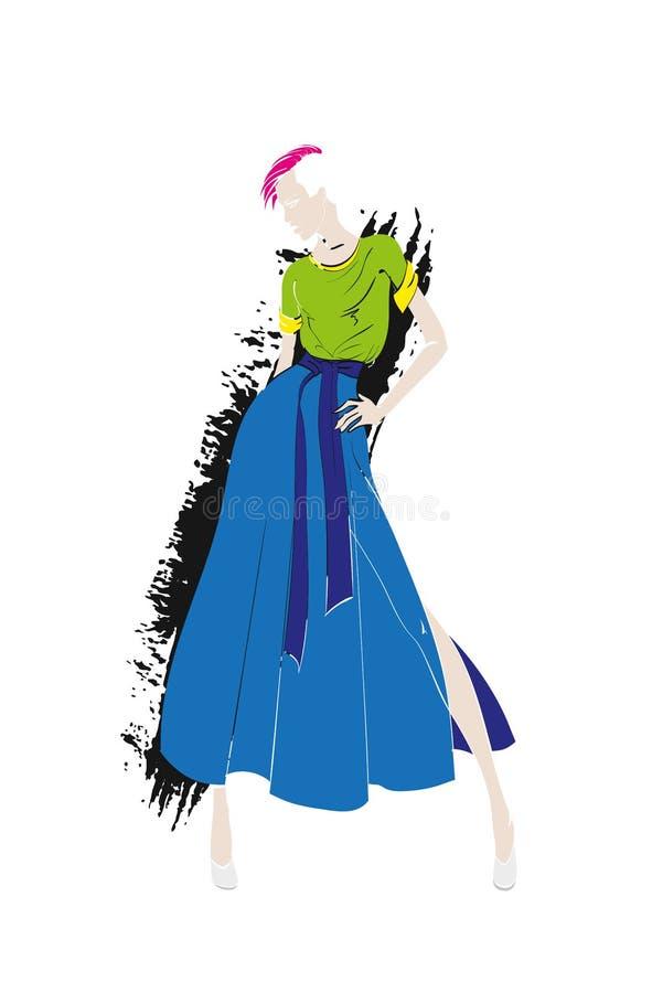 Fashion illustration. Stylish fashion models. Fashion girl vector illustration