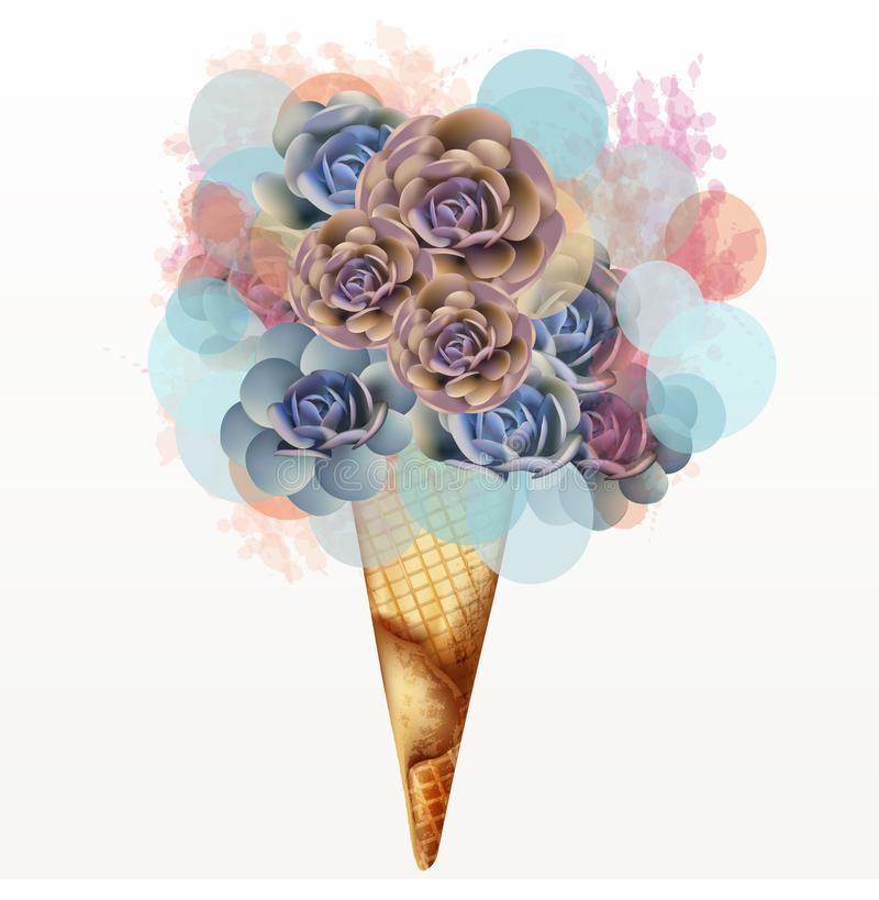 Fashion illustration, T-shirt print with creative ice cream from pink succulents stock illustration
