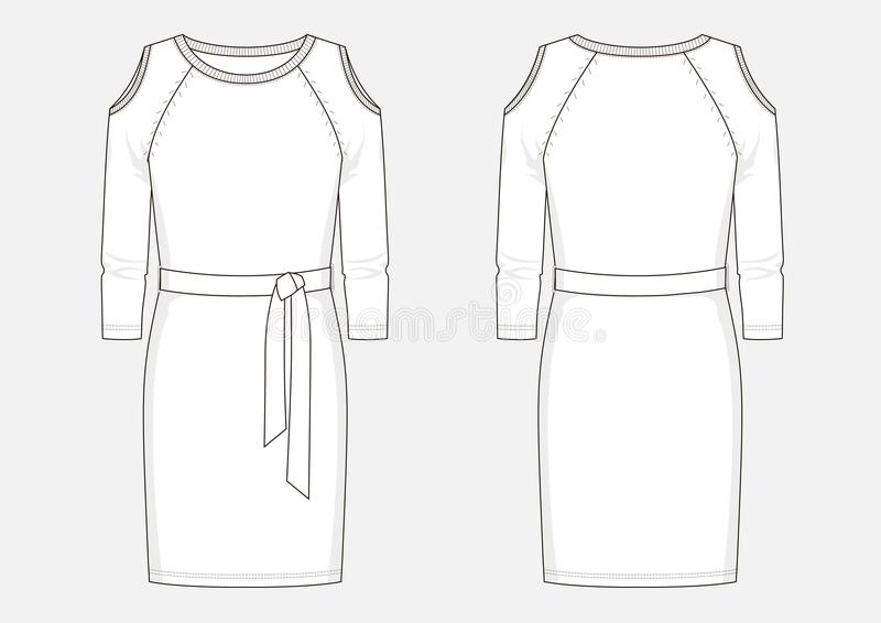 Fashion technical sketch of jersey dress. Fashion illustration. Technical sketch of women middle jersey dress in vector royalty free illustration