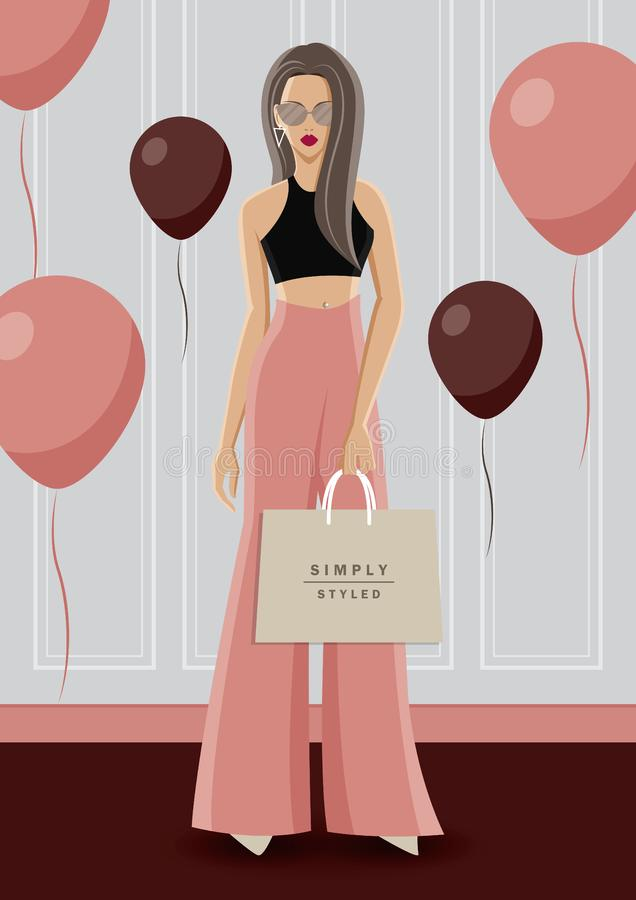 Fashion illustration vector. Fashionable woman wear black crop top with pink rose high waist pant . royalty free illustration