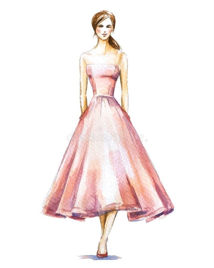 Fashion illustration, watercolor sketch vector illustration