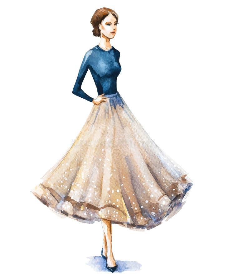 Fashion illustration, watercolor sketch. vector illustration