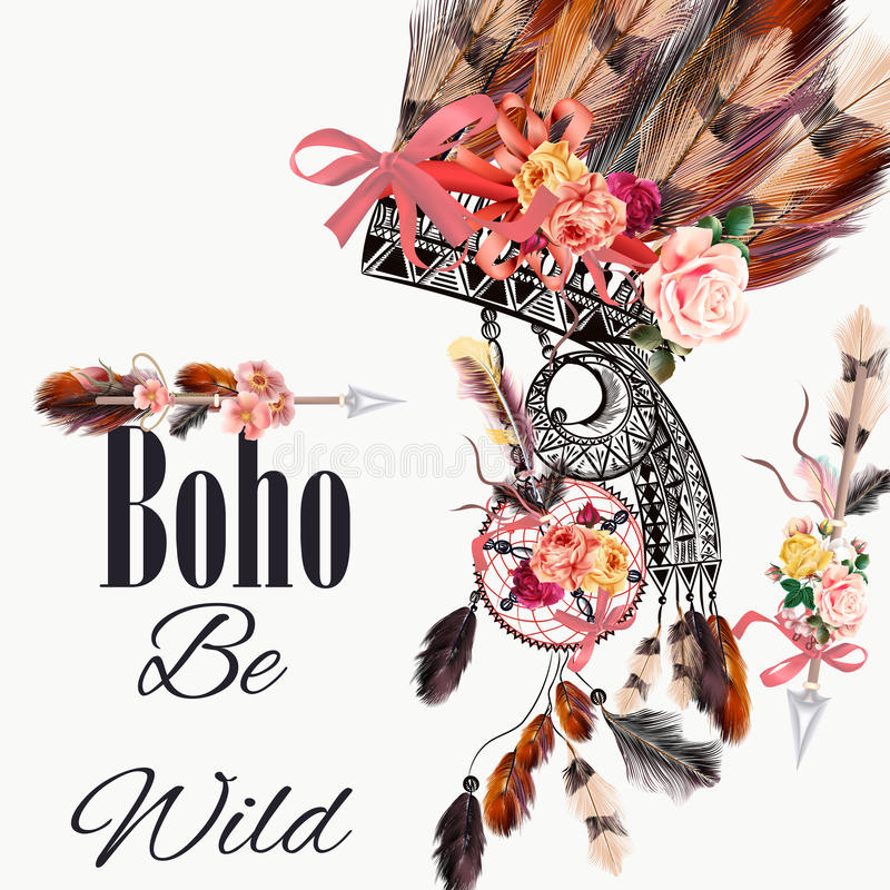 Free Fashion Illustration With Indian Head Dress And Arrows Boho Style Royalty Free Stock Image - 78735446