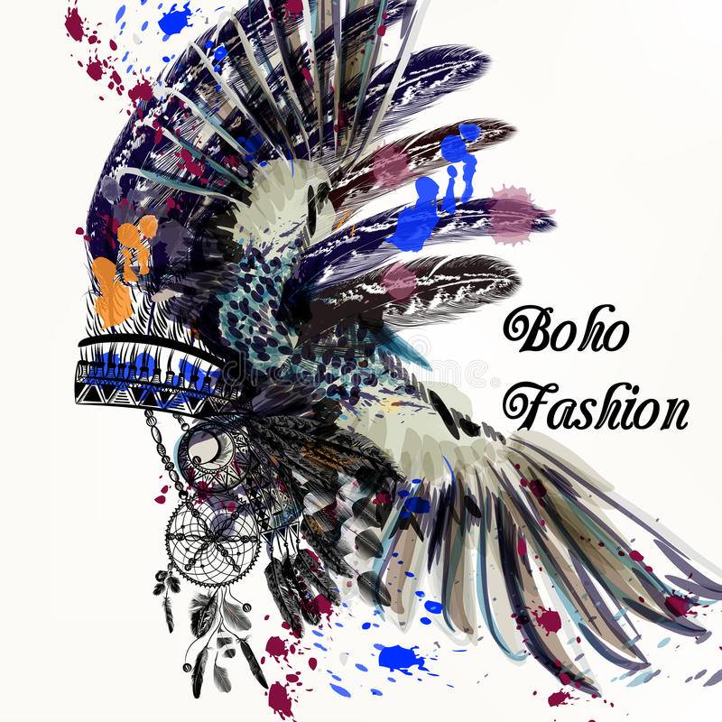 Free Fashion Illustration With Indian Head Dress And Ink Spots Boho Stock Photo - 78733610