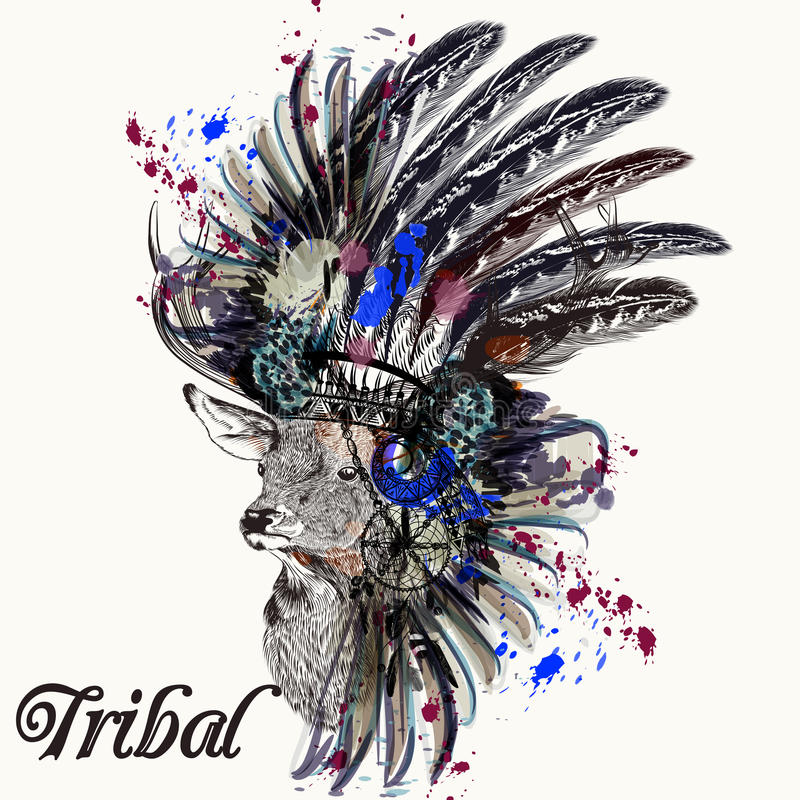 Free Fashion Illustration With Indian Head Dress Deer And Ink Spots Stock Image - 78733621
