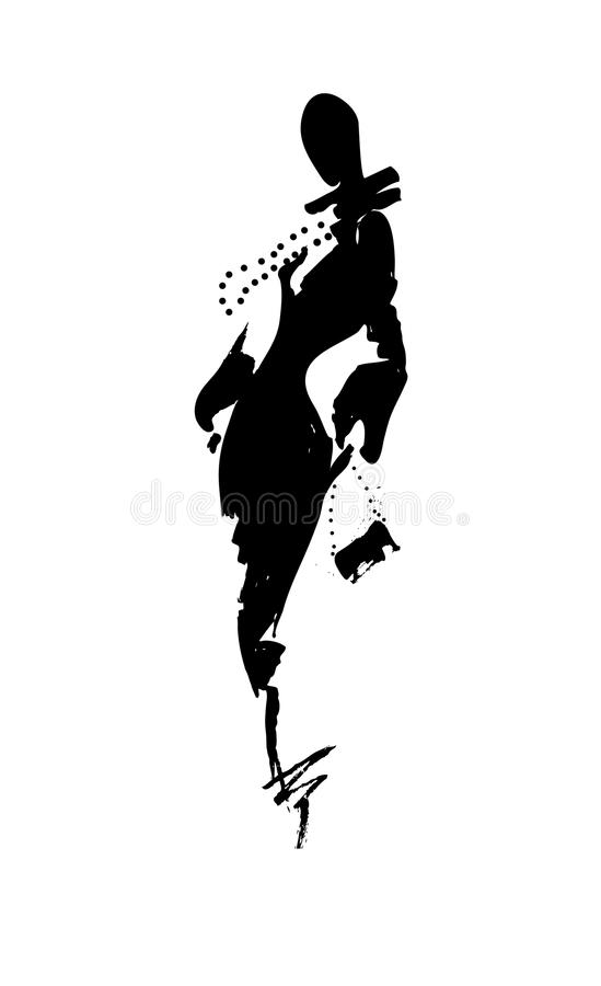 Fashion illustration a woman in long dress, ink. Fashion illustration a woman in a long dress, ink. Vector illustration vector illustration