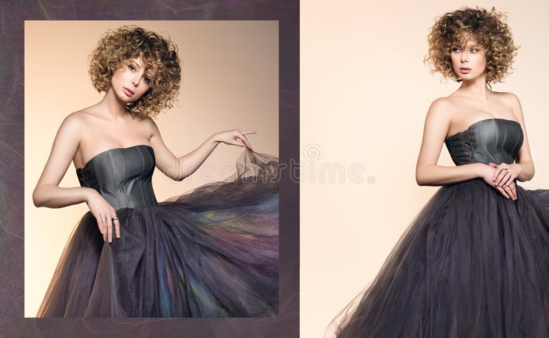 Fashion image of a beautiful young woman in a dark gray dress royalty free stock photo