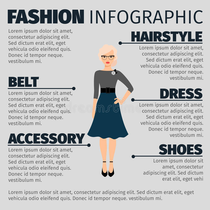 Fashion infographic with female teacher vector illustration