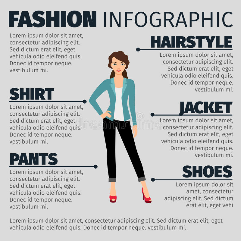 Fashion infographic with young business girl vector illustration