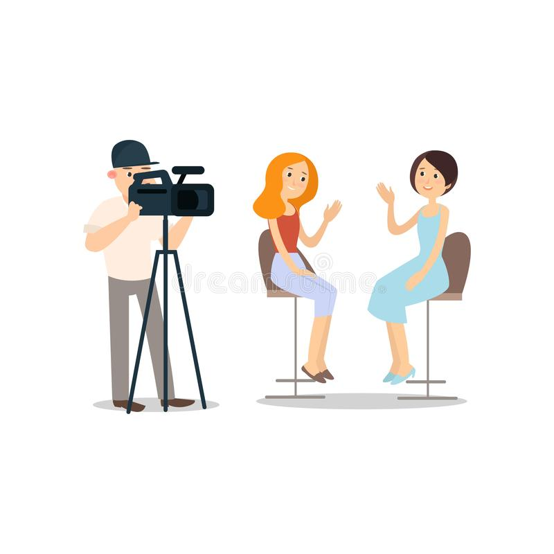 Fashion interview with sexy model in modern studio with cameraman. Fashion week. Flat style. Vector illustration on white background royalty free illustration