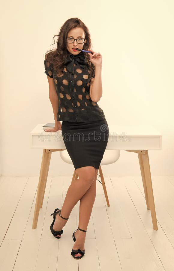 Free Fashion Is Her Life. Sexy Businesswoman. Pretty School Teacher Or Student. Business School Coach. Dress Code. Fashion Royalty Free Stock Photos - 153426488
