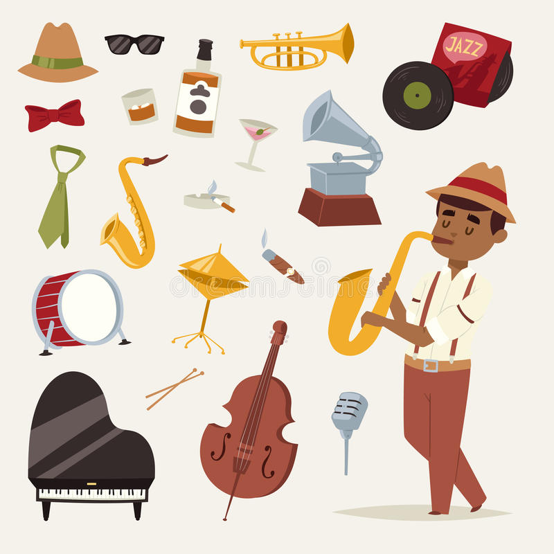 Fashion jazz band music party symbols art performance and musical instrument man character sound concert acoustic blues royalty free illustration