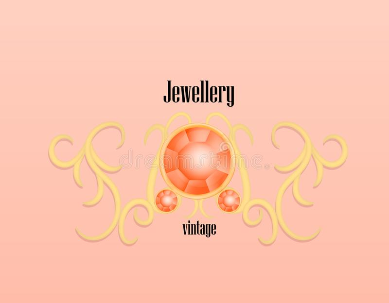 Fashion jewellery vintage concept background, realistic style. Fashion jewellery vintage concept background. Realistic illustration of fashion jewellery vintage royalty free illustration