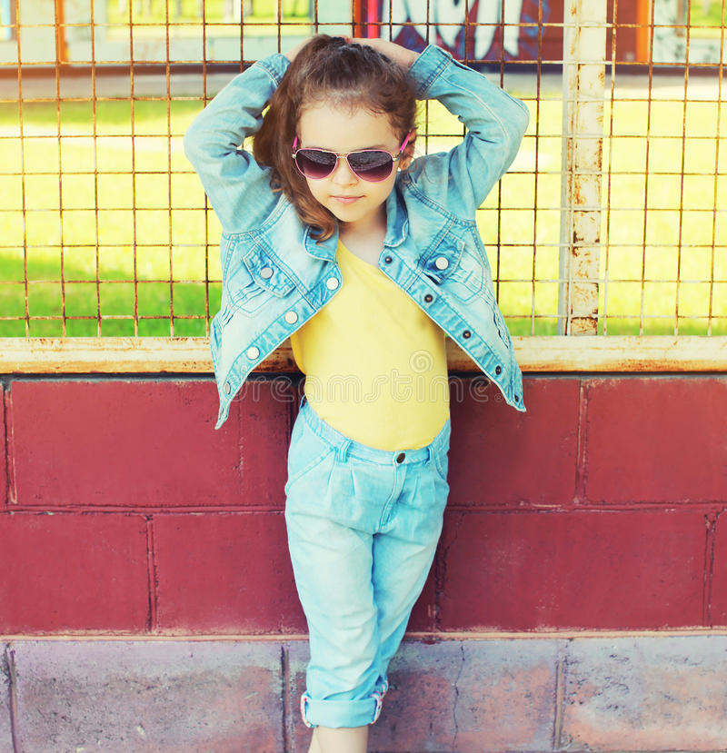 Fashion kid concept - portrait of stylish little girl child wear royalty free stock photography